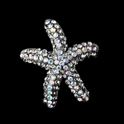 * Antique Silver Clear Aurora Borealis Rhinestone Starfish Brooch 90