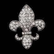 Antique Silver Clear Fleur De Lis Rhinestone Brooch 203