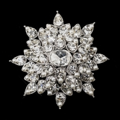 Antique Silver Clear Rhinestone and White Pearl Brooch 200
