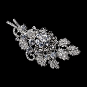 Antique Silver Clear Rhinestone Bouquet Brooch 226