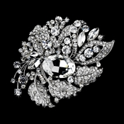 Antique Silver Clear Rhinestone Brooch 129
