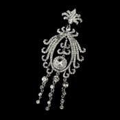 * Antique Silver Clear Rhinestone Brooch 3240