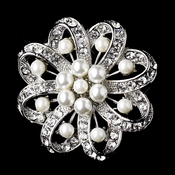 * Antique Silver Clear Rhinestone & Diamond White Pearl Brooch 222