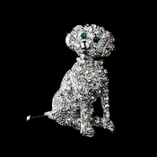 * Antique Silver Clear Rhinestone Dog Pin w/ Green Rhinestone Eyes Brooch 98