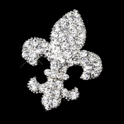 * Antique Silver Clear Rhinestone Fleur De Lis Brooch 416