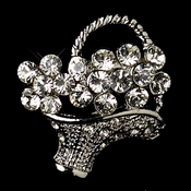* Antique Silver Clear Rhinestone Flower Basket Pin Brooch 135