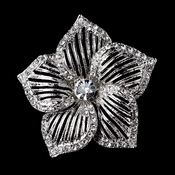 Antique Silver Clear Rhinestone Flower Brooch 224