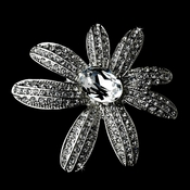 * Antique Silver Clear Rhinestone Flower Brooch 95 ***8 Left***