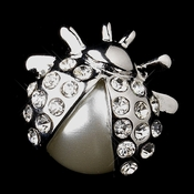 * Antique Silver Clear Rhinestone Ladybug with White Pearl Accent Brooch 213