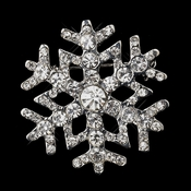 Antique Silver Clear Rhinestone Snowflake Brooch 197