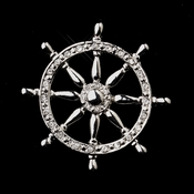 * Antique Silver Clear Ship Wheel with Rhinestones Brooch 195