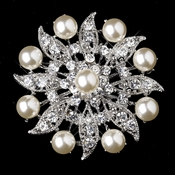 * Antique Silver Diamond White Pearl & Clear Rhinestone Flower Design Brooch 209