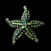 * Antique Silver Green Aurora Borealis Rhinestone Starfish Brooch 88