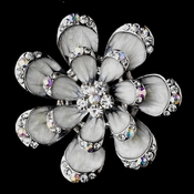 * Antique Silver Grey Flower with Clear and AB Rhinestones Brooch 162