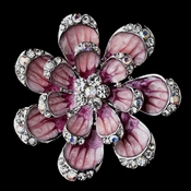 * Antique Silver Pink with Clear and AB Rhinestones Floral Brooch 162