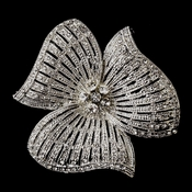 Antique Silver Rhinestone Flower Brooch 168