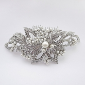 Antique Silver Rhodium Diamond White Pearl & Rhinestone Comb 6357