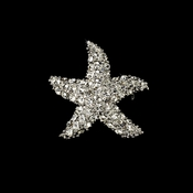 Silver Rhinestone Starfish CZ Beach Bridal Brooch 3168 (Silver or Gold)