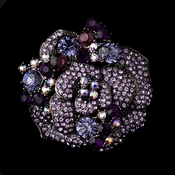 Antique Silver w/ Tanzanite and Amethyst Crystals Brooch 86