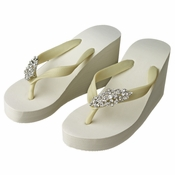 Art Deco Rhinestone High Wedge Flip Flops