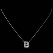 """B"" Clear Rhinestone Letter Initial Pendant Necklace 1"