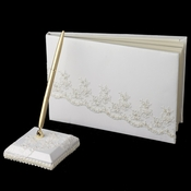 Beaded Lace Guest Book & Pen Set 767
