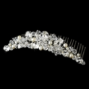 Beautiful Pearl & Crystal Bridal Comb 7001