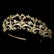 * Beautiful Pearl & Rhinestone Floral Bridal Tiara Headpiece HP 8316 (Gold or Silver)