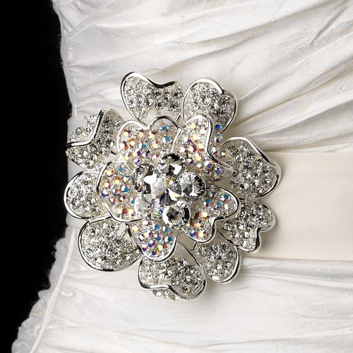 Belt with AB Crystal & Rhinestone Floral Brooch 8779