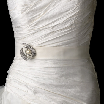 Belt with Antique Ivory Pearl & Crystal Brooch 92