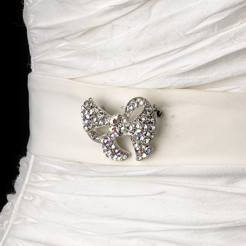 Belt with Antique Silver Clear AB Crystal Bow Brooch 51