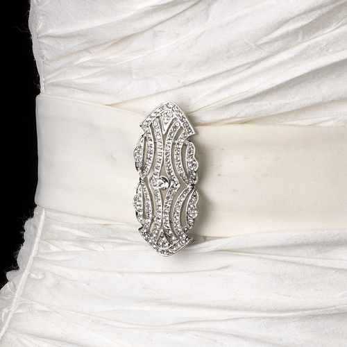 Belt with Antique Silver Clear Brooch 3163