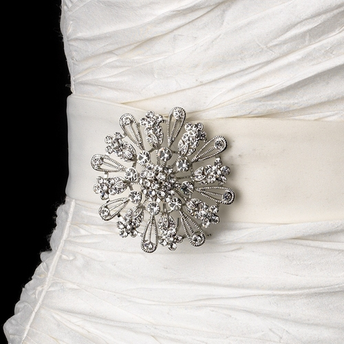 Belt with Antique Silver Clear Crystal Floral Brooch 57