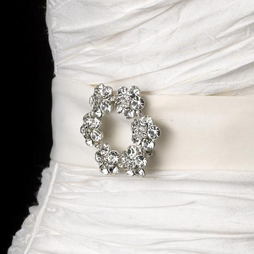 Belt with Antique Silver Clear Floral Brooch 21