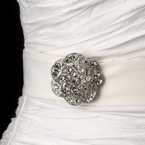 Belt with Antique Silver Clear Floral Swirl Crystal Brooch 37