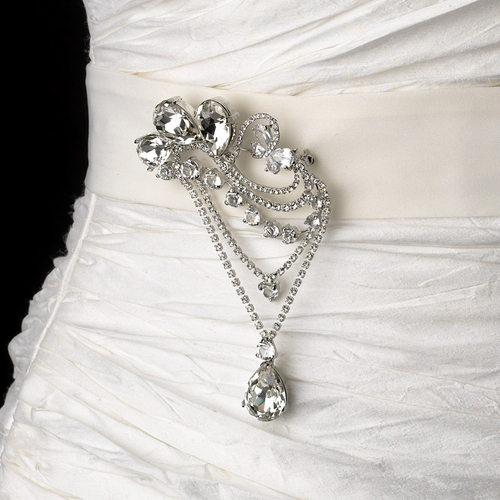 Belt with Antique Silver Clear Pear Crystal Brooch 45