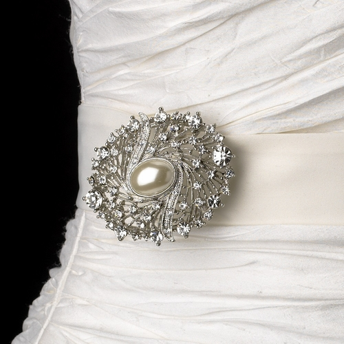 Belt with Antique Silver Clear Rhinestone & Oval Pearl Brooch 28