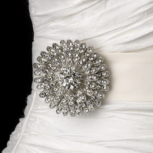 Belt with Antique Silver Clear Round Crystal Brooch 39