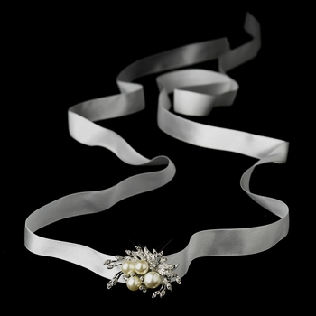 Belt with Antique Silver Ivory Pearl & Rhinestone Floral Brooch 175