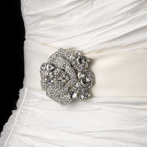 Belt with Crystal & Rhinestone Flower Brooch 86
