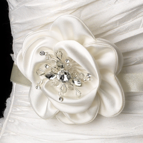 Belt with Crystals & Beads Fabric Flower Comb 8416