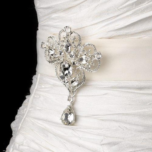 Belt with Dangling Pear & Marquise Crystal Brooch 44