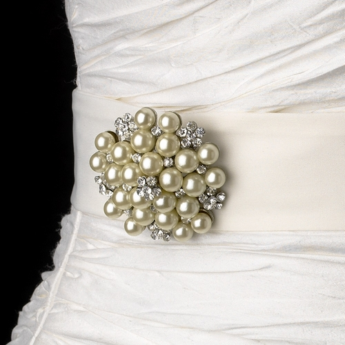 Belt with Floral Cluster Pearl Brooch 31