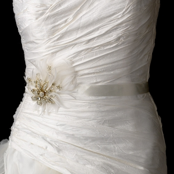 Belt with Gold Plated with Clear Rhinestones & Ivory Feather Clip 456