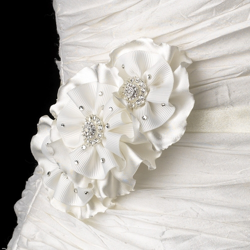 Belt with Ivory Vintage Ruffle Fabric Flower Clip 472