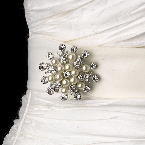 Belt with Pearl & Rhinestone Floral Brooch 30