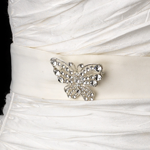 Belt with Silver Clear AB Butterfly Brooch 3178