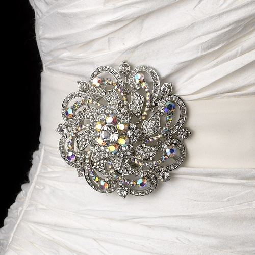 Belt with Silver Clear AB Swirl Rhinestone Brooch 79