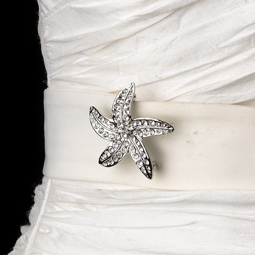 Belt with Silver Clear Beach Starfish Brooch 3177