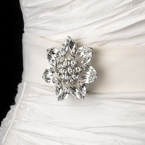 Belt with Silver Clear Crystal Floral Star Brooch 63